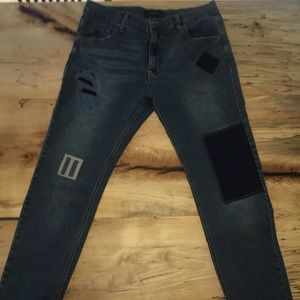 Men's Patched Skinny Jeans - Never Worn